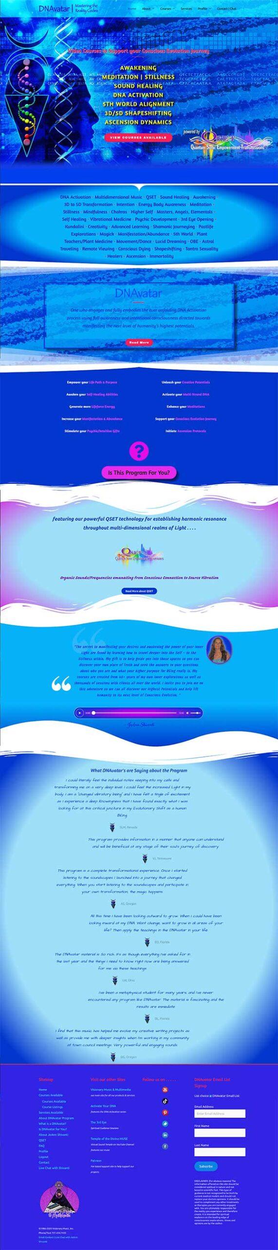 DNAvatar Long Scoll Webpage